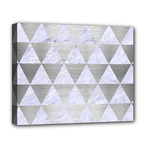 Triangle3 White Marble & Silver Brushed Metal Deluxe Canvas 20  X 16   by trendistuff