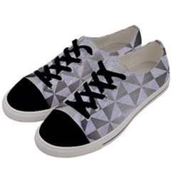 Triangle1 White Marble & Silver Brushed Metal Men s Low Top Canvas Sneakers by trendistuff