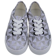 Triangle1 White Marble & Silver Brushed Metal Kids  Classic Low Top Sneakers