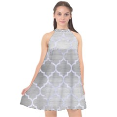 Tile1 White Marble & Silver Brushed Metal Halter Neckline Chiffon Dress