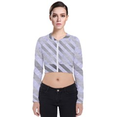 Stripes3 White Marble & Silver Brushed Metal Bomber Jacket by trendistuff