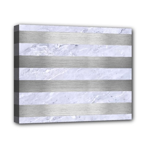 Stripes2white Marble & Silver Brushed Metal Canvas 10  X 8  by trendistuff
