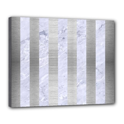 Stripes1 White Marble & Silver Brushed Metal Canvas 20  X 16  by trendistuff