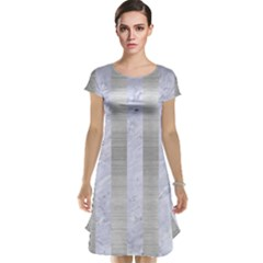 Stripes1 White Marble & Silver Brushed Metal Cap Sleeve Nightdress