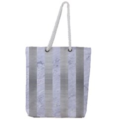Stripes1 White Marble & Silver Brushed Metal Full Print Rope Handle Tote (large)