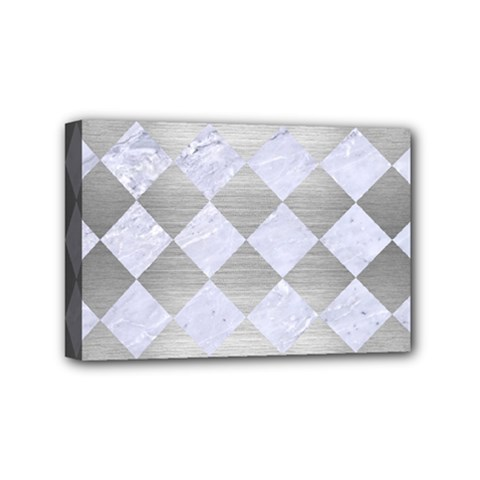 Square2 White Marble & Silver Brushed Metal Mini Canvas 6  X 4  by trendistuff