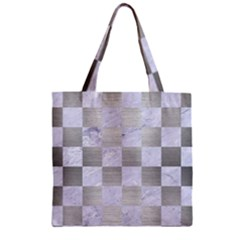 Square1 White Marble & Silver Brushed Metal Zipper Grocery Tote Bag by trendistuff