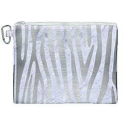 Skin4 White Marble & Silver Brushed Metal Canvas Cosmetic Bag (xxl) by trendistuff