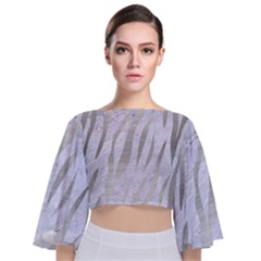 Skin3 White Marble & Silver Brushed Metal (r) Tie Back Butterfly Sleeve Chiffon Top