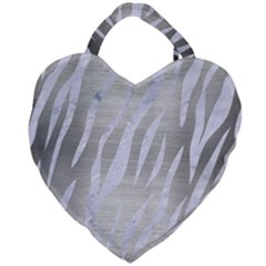 Skin3 White Marble & Silver Brushed Metal Giant Heart Shaped Tote by trendistuff