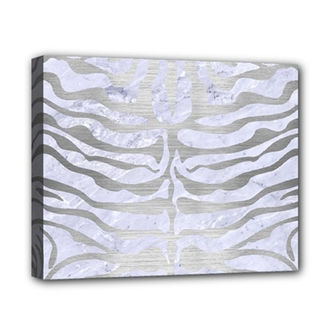 Skin2 White Marble & Silver Brushed Metal (r) Canvas 10  X 8  by trendistuff
