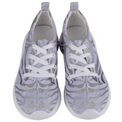 Skin2 White Marble & Silver Brushed Metal (r) Women s Lightweight Sports Shoes