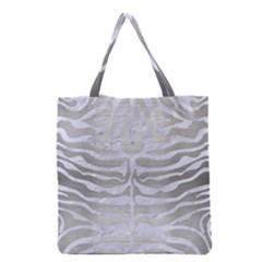 Skin2 White Marble & Silver Brushed Metal Grocery Tote Bag