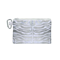 Skin2 White Marble & Silver Brushed Metal Canvas Cosmetic Bag (small)