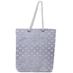 Scales2 White Marble & Silver Brushed Metal (r) Full Print Rope Handle Tote (large)