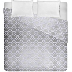 Scales2 White Marble & Silver Brushed Metal Duvet Cover Double Side (king Size) by trendistuff