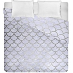 Scales1 White Marble & Silver Brushed Metal (r) Duvet Cover Double Side (king Size) by trendistuff