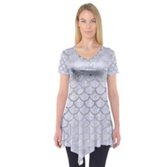 Scales1 White Marble & Silver Brushed Metal (r) Short Sleeve Tunic  by trendistuff
