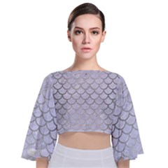 Scales1 White Marble & Silver Brushed Metal (r) Tie Back Butterfly Sleeve Chiffon Top