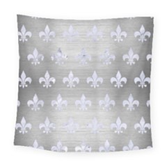 Royal1 White Marble & Silver Brushed Metal (r) Square Tapestry (large) by trendistuff
