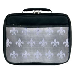 Royal1 White Marble & Silver Brushed Metal (r) Lunch Bag