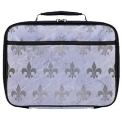 Royal1 White Marble & Silver Brushed Metal Full Print Lunch Bag