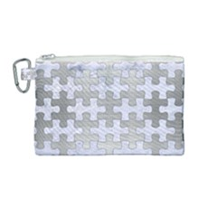 Puzzle1 White Marble & Silver Brushed Metal Canvas Cosmetic Bag (medium) by trendistuff
