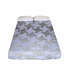 Houndstooth2 White Marble & Silver Brushed Metal Fitted Sheet (full/ Double Size) by trendistuff