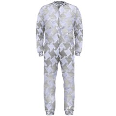 Houndstooth2 White Marble & Silver Brushed Metal Onepiece Jumpsuit (men)