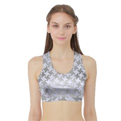 Houndstooth2 White Marble & Silver Brushed Metal Sports Bra With Border