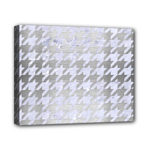Houndstooth1 White Marble & Silver Brushed Metal Canvas 10  X 8  by trendistuff
