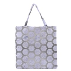 Hexagon2 White Marble & Silver Brushed Metal (r) Grocery Tote Bag by trendistuff