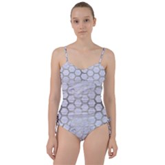 Hexagon2 White Marble & Silver Brushed Metal (r) Sweetheart Tankini Set