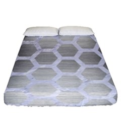 Hexagon2 White Marble & Silver Brushed Metal Fitted Sheet (queen Size)
