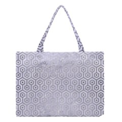 Hexagon1 White Marble & Silver Brushed Metal (r) Medium Tote Bag by trendistuff