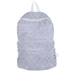 Hexagon1 White Marble & Silver Brushed Metal (r) Foldable Lightweight Backpack by trendistuff