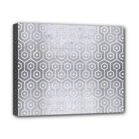Hexagon1 White Marble & Silver Brushed Metal Canvas 10  X 8  by trendistuff