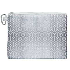 Hexagon1 White Marble & Silver Brushed Metal Canvas Cosmetic Bag (xxl) by trendistuff