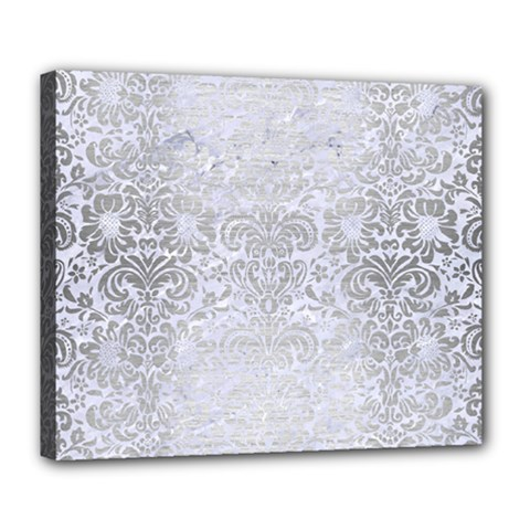 Damask2 White Marble & Silver Brushed Metal (r) Deluxe Canvas 24  X 20   by trendistuff
