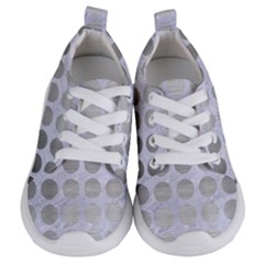 Circles1 White Marble & Silver Brushed Metal (r) Kids  Lightweight Sports Shoes