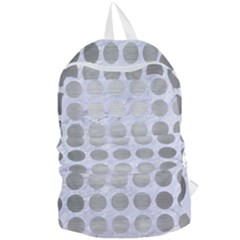 Circles1 White Marble & Silver Brushed Metal (r) Foldable Lightweight Backpack by trendistuff