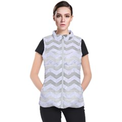 Chevron3 White Marble & Silver Brushed Metal Women s Puffer Vest
