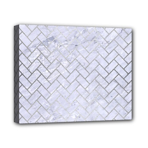Brick2 White Marble & Silver Brushed Metal (r) Canvas 10  X 8  by trendistuff