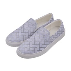 Brick2 White Marble & Silver Brushed Metal (r) Women s Canvas Slip Ons by trendistuff