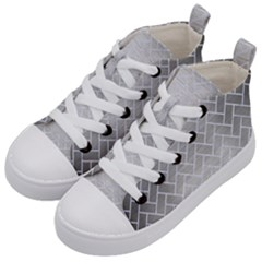 Brick2 White Marble & Silver Brushed Metal Kid s Mid Top Canvas Sneakers by trendistuff