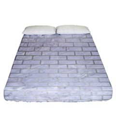 Brick1 White Marble & Silver Brushed Metal (r) Fitted Sheet (queen Size) by trendistuff