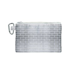 Brick1 White Marble & Silver Brushed Metal Canvas Cosmetic Bag (small) by trendistuff