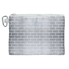 Brick1 White Marble & Silver Brushed Metal Canvas Cosmetic Bag (xl) by trendistuff