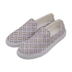 Woven2 White Marble & Sand (r) Women s Canvas Slip Ons by trendistuff