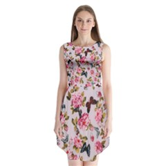 Floral Butterflies Sleeveless Chiffon Dress